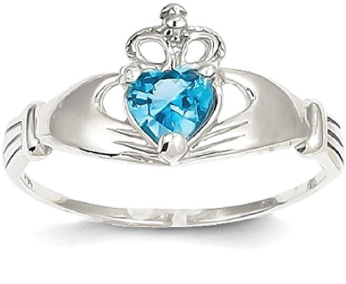 ICE CARATS 14k White Gold Cubic Zirconia Cz December Birthstone Irish Claddagh Celtic Knot Heart Band Ring Size 7.00 Style Fine Jewelry Gift Set For Women Heart
