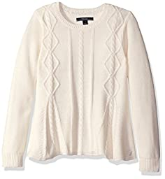 Nautica Little Girls Swing Sweater with Cable Knit Detail, Cream, 5