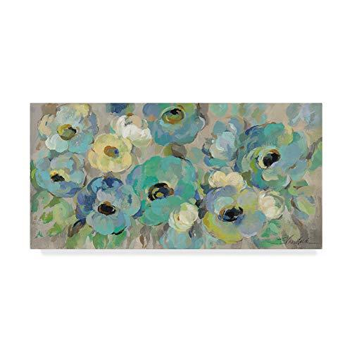 (Trademark Fine Art Fresh Teal Flowers by Silvia Vassileva, 16x32-Inch Fine Art, Multicolor)