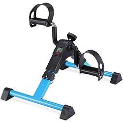 MOMODA Stationary Pedal Exerciser Desk Cycle Exercise Bike with LCD Monitor Foldable (Black/Blue)