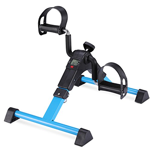 MOMODA Stationary Pedal Exerciser Desk Cycle Exercise Bike with LCD Monitor Foldable -