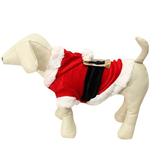 (JIN+D Christmas Pet Dog Costumes Santa Doggy Hoodie Puppy Coat)