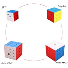 Diansheng&Cyclone Boys&Qiyi New Updated Speed Magic Cube Pack, 2x2x2,3x3x3,4x4x4,5x5x5, 4 Pack Stickerless Puzzle Cubes