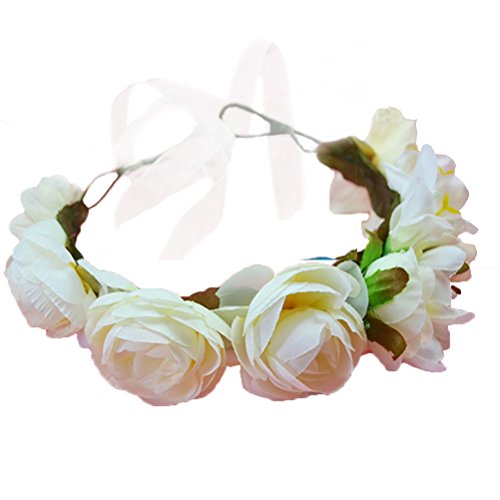 Vivivalue Boho Flower Wreath Crown Headband Floral Garland with Ribbon for Festival Wedding Beige