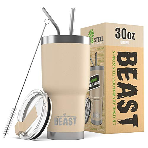BEAST 30oz Sand Tumbler - Stainless Steel Vacuum Insulated Coffee Ice Cup Double Wall Travel Flask
