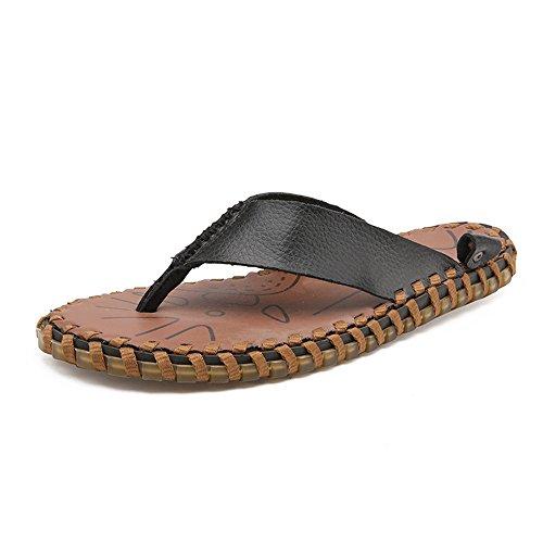 Casual Nero spiaggia da antiscivolo EU 42 Scarpe piatti 2018 Dimensione da in shoes uomo vera Color Mens Pantofola pelle Infradito Sandali morbidi wqS0U