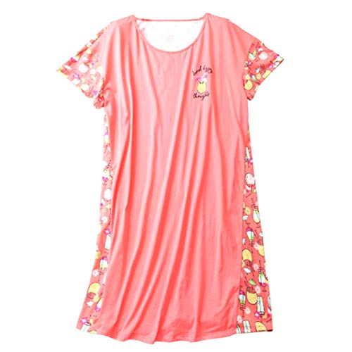 - ENJOYNIGHT Womens Cotton Sleepwear Short Sleeves Print Sleepshirt Sleep Tee (Drink, L/XL)