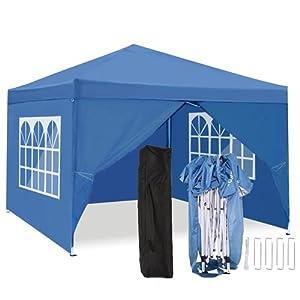 TOOLUCKCARPA 3x3m Carpa Plegable Cenador Plegable Pergola Cenador de jardín, Impermeables protección UV (Azul, 3x3m)