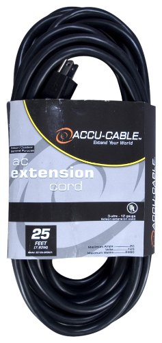 Accu Cable EC123-3FER25 Black 12 Gauge 3 Plug 25 Ft Extension Cable