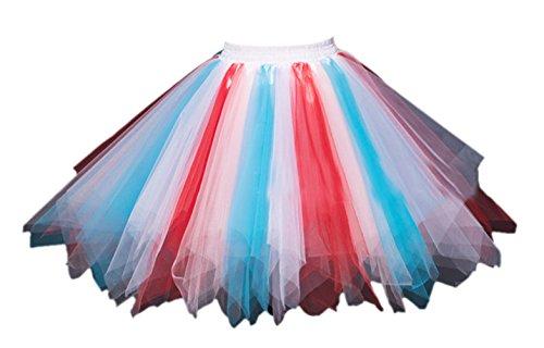 [Honeystore Women's Short Vintage Ballet Bubble Puffy Tutu Petticoat Skirt Blue Red Pink] (Plus Size Tutu Skirt)