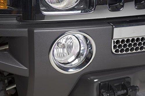 ZMAUTOPARTS Hummer H3 Bumper Driving Fog Light Lamp Trims Bezel Cover Ring Chrome Pair