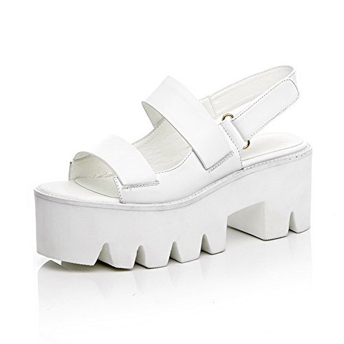 AmoonyFashion Womens Hook-and-loop Open Toe High-Heels Cow Leather Solid Sandals White vJz9i