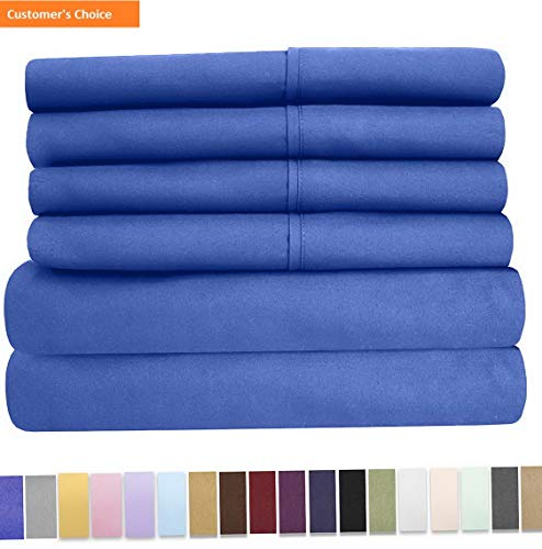 Mikash New Soft 6 Piece 1500 Thread Count Brushed Microfiber Deep Pocket Sheet Set-2 Extra Pillow Cases, Value, RV Short Queen, Royal Blue   Style - Madrid Cover Futon