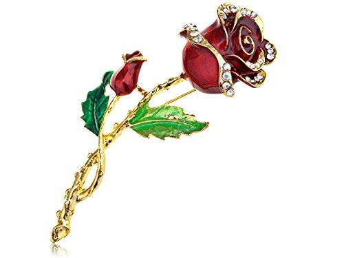 Alilang Womens Belle Red Rose Flower Enamel Crystal Rhinestone Brooch Pin Golden Tone Rose Pin