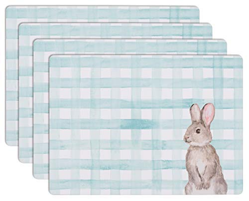 (House and Home Cork Placemats 16 x 12-Inch Set of 4 (Easter Bunny Rabbit Gingham Teal))