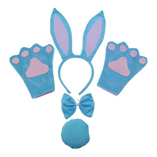 Blue Rabbit 4pc Children Costume Kids Cosplay Headband Bowtie Tail Gloves]()