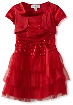 Amy Byer Little Girls' Triple Tier Dress with Sequins, Red, 4