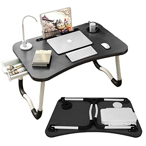 Laptop Desk, Laptop Stand for Bed Foldable Desk with Storage Drawer Mobile Phone Tablet Pen Cup Holders Portable Desk for Dinner, Reading, Writing