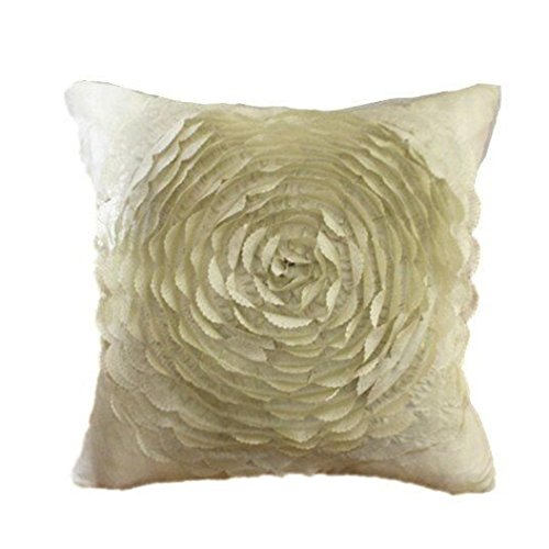 Woaills Home Goods Polyester Durable Resistance Soiling Rose Floral Decorative Satin Throw Sofa Pillow Case Cushion Cover 17