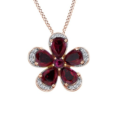 4.5 Ct Rose (4.5 Carat Simulated Ruby Pendant Necklace 14k Rose Gold Over Sterling Silver)