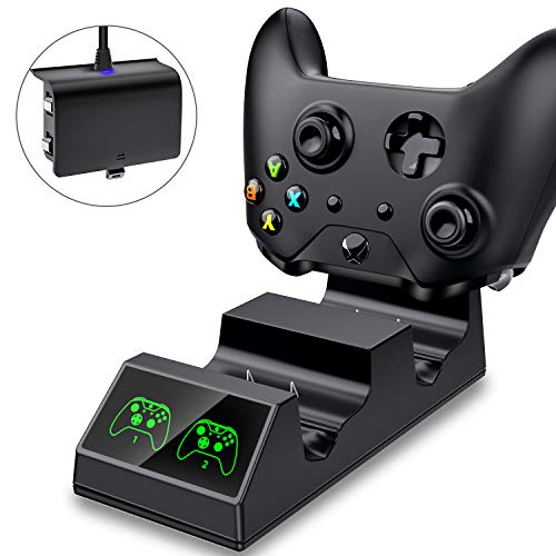 ESYWEN Xbox One Controller Charger Dual Charging Station with 2 x 600mAh rechargeable Battery Packs for Xbox One/One S/One X/One Elite