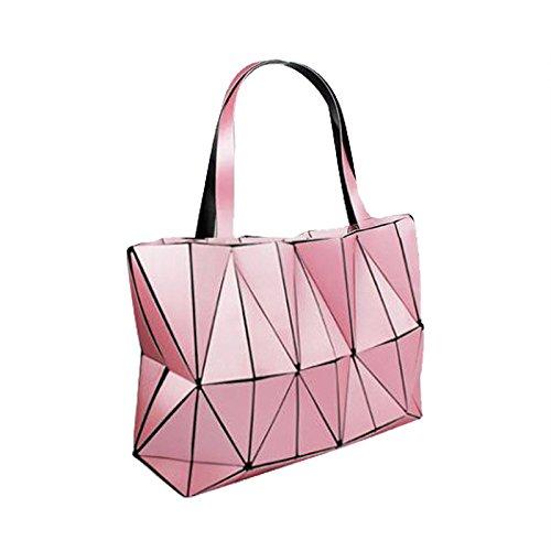 Jockey Flower Print (New Fashion Bag Women Plain Folding Lady Handbags Geometry Style Female Shoulder Bags Large Women Casual Tote Famous (Pink Color))