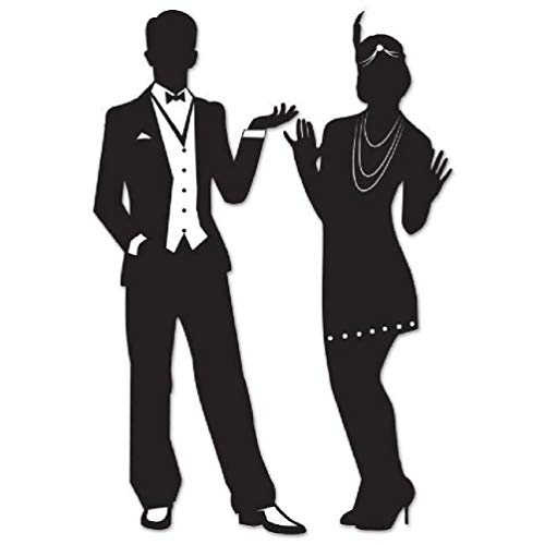hersrfv home Great Roaring 1920's Silhouettes 2 Pack 20s Flapper Girl and Man Wall Decoration