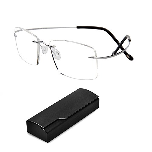 Ultra Light Fashion Designer Titanium Rimless Reading Glasses Eyeglasses Flex Silver Lightweight Readers Glasses for Men Women - Eyeglasses Designer For Less