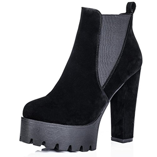 SPYLOVEBUY Block Ankle Platform Chelsea Sole Black Suede JOLT Heel Synthetic Boots Cleated rFSwxTrq5