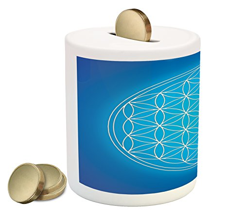 Sacred Geometry Piggy Bank by Ambesonne, Flower of Life Grid Pattern Consisting of Types Overlapping Circles Theme, Printed Ceramic Coin Bank Money Box for Cash Saving, Blue White