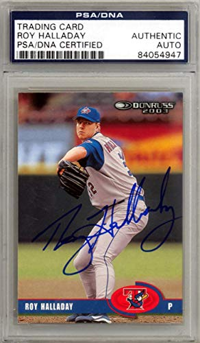 Roy Halladay Autographed 2003 Donruss Card #222 Toronto Blue Jays #84054947 - PSA/DNA Certified - Baseball Slabbed Autographed Cards