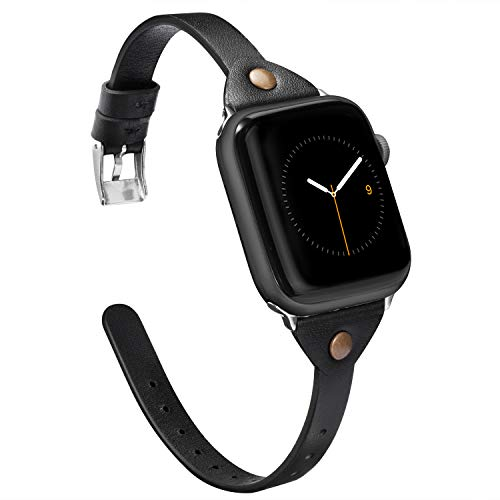 Wearlizer Black Thin Leather Compatible with Apple Watch Bands' 42mm 44mm iWatch Womens Mens Strap Slim Rivet Wristband Leisure Exclusive Bracelet (Metal Silver Buckle) Series 4 3 2 1 Edition ()