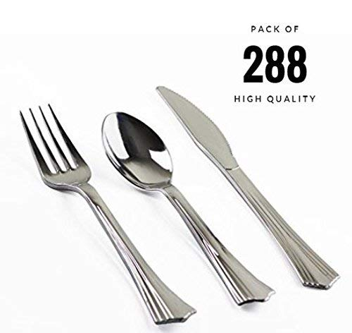 ORCHID HOME 288 Pieces Plastic Disposable Silverware Set Looks Like Fancy Silver Flatware Solid Heavyweight 96 Forks 96 Spoons 96 Knives Perfect for Weddings Parties Catering BBQ Events]()