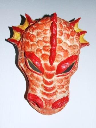 Dragón Rojo Dragon Máscara mano mecanizadas Máscaras de Teatro