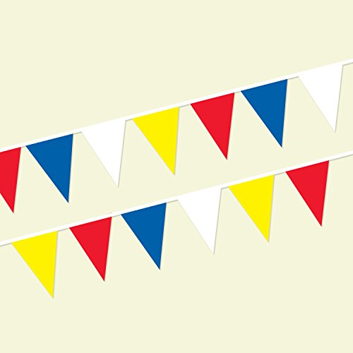 Red/Blue/White/Yellow String Pennants (120 ft.)