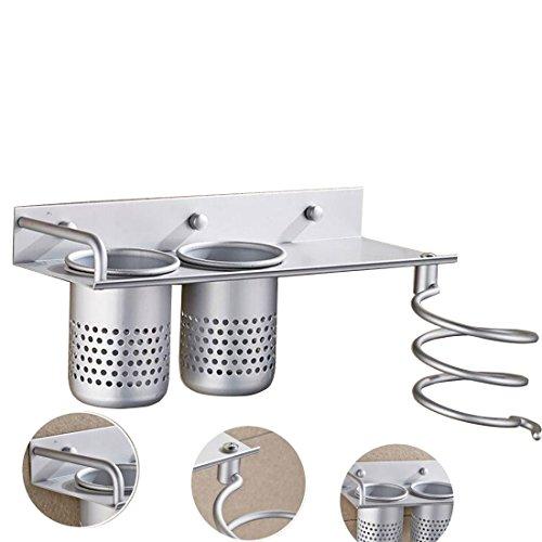 Hair Dryer Holder, Hmane Alumimum Multi-function Wall Mounted Aluminum Hair Dryer Holder Toilet Requisites Storage Rack - Silver by HMANE (Image #2)