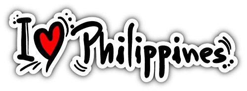 "I Love Philippines Travel Car Bumper Sticker Decal 8"" x 2"""