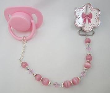 Amazon.com: Lazo rosa en flor Clip para chupete (cmpf): Baby