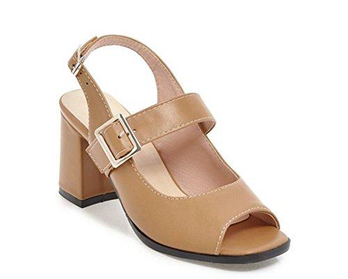 Xie boca Para Verano Confort 34 hebilla Khaki calzado De 42 Sandalias 7cm 34 Mujer zapatos Cinturón Romano Pez antideslizante Khaki 42 rq5Fwr8P7