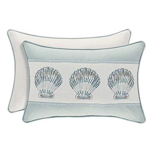 Aqua Boudoir Pillow - Royal Court Water's Edge Coastal Nautical Boudoir Throw Pillow, Aqua, 19x13
