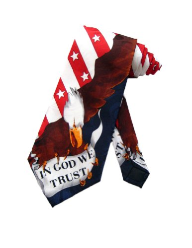 Steven Harris In God We Trust American Bald Eagle Necktie - White - One Size Neck Tie