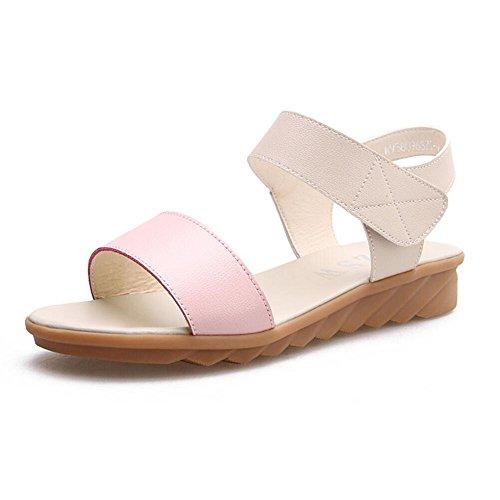 Con simples sandalias planas plana hembra - Anti Skid expuestos toe madre embarazada sandalias Rosa