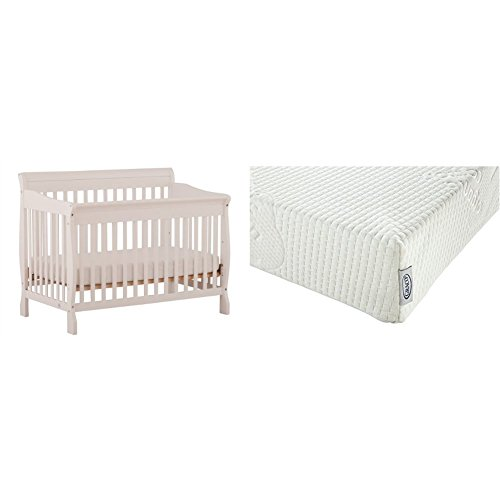 Stork Craft Modena 4 in 1 Fixed Side Convertible Crib, White with Graco Natural Organic Foam Crib and Toddler Mattress