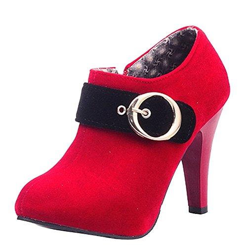 Carol Shoes Women's Fashion Buckles High Heel Zip Ankle Boots Red q7IWaLtO