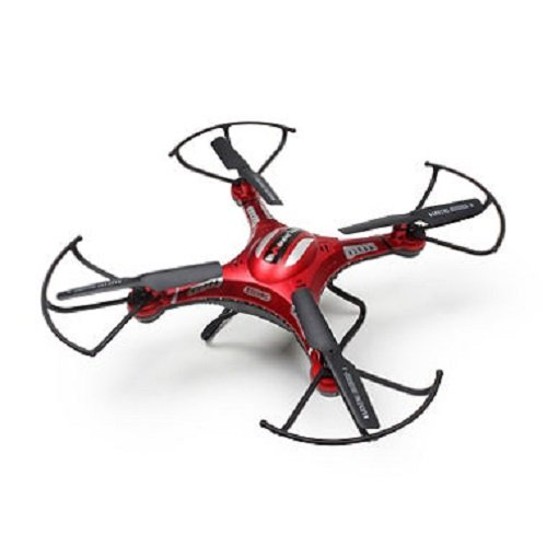 6-Axis Gyro Remote Control Quadcopter Flying Drone with HD Camera, LED Lights, (Red) ()