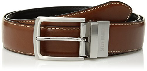 Steve Madden Men's Dress Casual Every Day Reversible Leather Belt, Cognac/Black (Feather Edge), 32