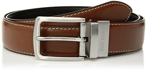 Steve Madden Men's Dress Casual Every Day Reversible Leather Belt, Cognac/Black (Feather Edge), 36 (Men Dress Reversible Belts)