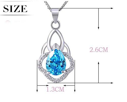findout en argent sterling forme bleue de coeur Collier pendentif en cristal cubique zircons goutte d'eau (de f1683)