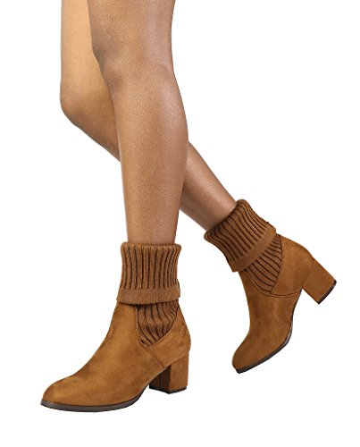 DREAM PAIRS Women's Sweatie Tan Fold Down Block Heel Ankle Booties Size...