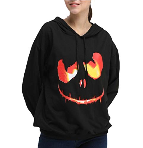 Coolred-Women Halloween Party Cotton Pumpkin Casual Fit Sweatshirts Shirt Black (College Halloween Party Tumblr)